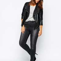 ASOS Curve | ASOS CURVE Leather Look Jacket With Waterfall Front at ASOS