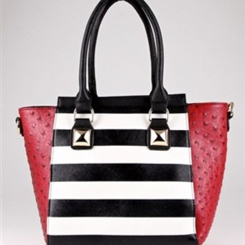 HauteChicWebstore Striped Faux Leather Tote Bag