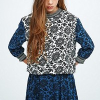 Native Rose Mix Print Top in Blue - Urban Outfitters