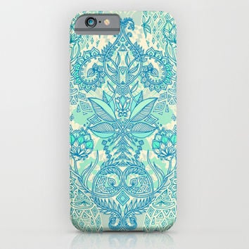 Botanical Geometry - nature pattern in blue, mint green & cream iPhone & iPod Case by micklyn