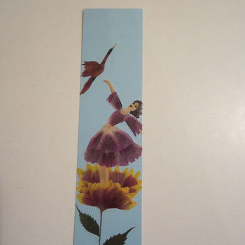 "Handmade unique bookmark ""Aspire to the heights"" - Decorated with dried pressed flowers and herbs - Original art collage."