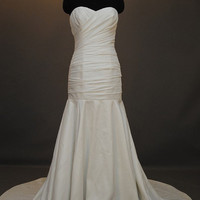 A-line/ Princess Strapless Court Train taffeta Over Satin Wedding Dress