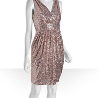 Badgley Mischka Platinum Label blush sequin surplice v-neck dress at Bluefly