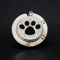 Paw foldable bag hanger made with Swarovski flatback crystals - Black x Crystal
