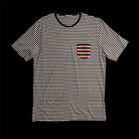 Sunspel Stripe Pocket Tee in Navy