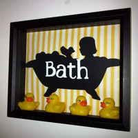 Little Girl Bubble Bath Rubber Duck Shadow Box