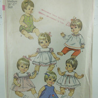 Vintage baby doll clothes sewing pattern Simplicity 1960s 7970 for vinyl baby dresses, pants and shirts patterns