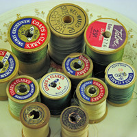 Vintage Wooden Spools with sewing thread,  assortment of colors sizes yellow green white