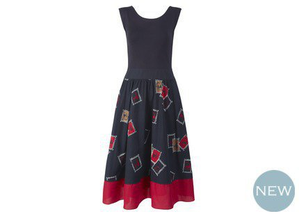 Stamp Print Jersey Bodice Dress at LAURA ASHLEY