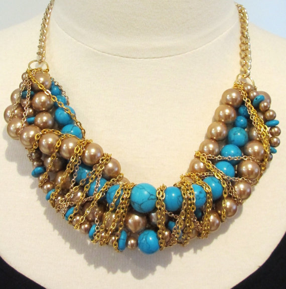 Turquoise statement necklace bib necklace beaded necklace turquoise and gold twisted necklace -Mediterranean Summer Necklace