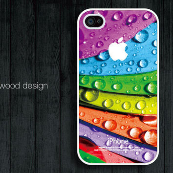iphone 4 cases iphone 4s case iphone 4 cover colorized leaves drop of water design