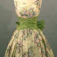 The Sweetest Floral Taffeta 1950&#x27;s Cocktail Dress VINTAGEOUS VINTAGE CLOTHING
