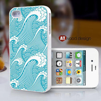 iphone Case for iphone 4 case iphone 4s case iphone 4 cover classic blue sea wave  beautiful colors graphic design printing