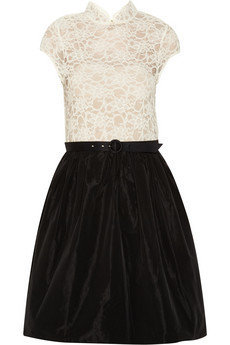Alice + Olivia | Lace and taffeta dress | NET-A-PORTER.COM