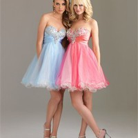 A-line Sequin Bodice Sweetheart Satin and Tulle Short Prom Dress PD10555 Online Sale