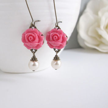 Dark Pink Roses Earrings. Vintage Style Nature Woodlands Inspired. White Pearls Dangle Drop Earrings.Bridal Wedding Ear Jewelry Pixel Garden