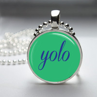 Round Glass Bezel Photo Art Pendant YOLO You Only Live Once Necklace With Silver Ball Chain (A3807)