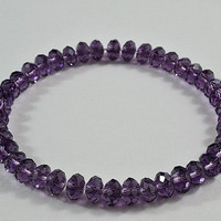 Purple Crystal Beaded Stretchy Bracelet, Shiny, Sparkly, Adorable Bracelet