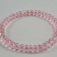 Light Pink Crystal Beaded Stretchy Bracelet, Sparkly, Adorable Bracelet