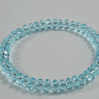 Light Blue Crystal Beaded Stretchy Bracelet, Sparkly, Adorable Bracelet