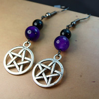 Funky Gothic Emo Star Pentagram alternative dangle earrings with Russian amethyst and onyx gemstones