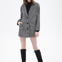FOREVER 21 Marled Knit Overcoat Black/Cream