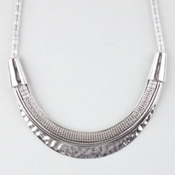 Full Tilt Mesh/Hammered Plate Statement Necklace Silver One Size For Women 24622914001