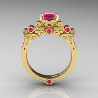 Classic Armenian 18K Yellow Gold 1.0 Ct Princess Pink Sapphire Solitaire Wedding Ring R608-18KYGPS
