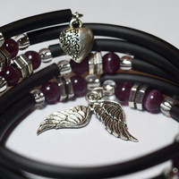 Funky fashion wrap bracelet - Purple, silver and black memory wire rubber bracelet wrist wrap.