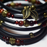 Funky fashion wrap bracelet cuff - Bronze and tiger eye rubber memory wire wrap fall bracelet