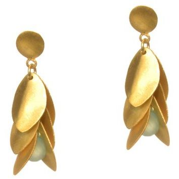 Gold Plated Silver Petal Earrings