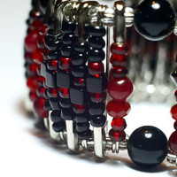 Unique funky fashion stretchy bracelet - Red, silver and black safety pin stretchy bracelet cuff