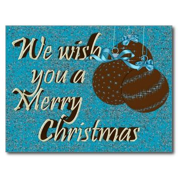 Postcard-Merry Christmas Ornaments, Blue and Brown
