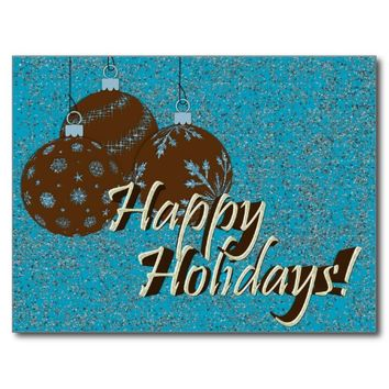 Postcard-Happy Holidays Ornaments, Blue and Brown