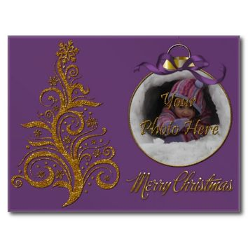 Postcard Whimsy Christmas Tree-Purple