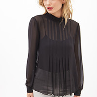 Sheer Pleated High-Neck Top