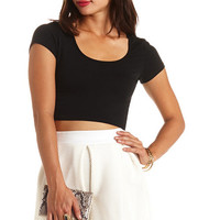FITTED SHORT SLEEVE CROP TOP