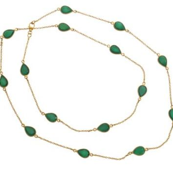 Gold Plated Sterling Silver Tear Drop Shaped Green Onyx Stone Necklace