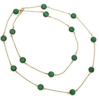 Gold Plated Neckialce with Green Ropada Stones