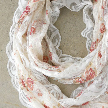 Floral & Lace Scarf [6187] - $14.00 : Vintage Inspired Clothing & Affordable Dresses, deloom | Modern. Vintage. Crafted.