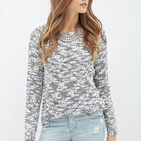 LOVE 21 Chunky Open-Knit Sweater Ivory/Navy