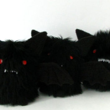 Black evil bat, fluffy and cute