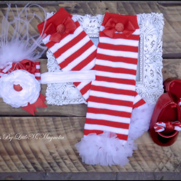 "Christmas Headband Leg Warmer and Shoes Set ""Holly Jolly"" Photo shoot for baby girls toddler girls"