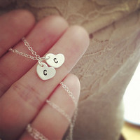 Dainty Two Hearts Initial Necklace - All Sterling Silver - Everyday Jewelry - Personalization Gift - Hand Stamped Custom