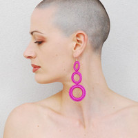 Fuchsia cotton crochet earrings. spring summer fashion jewelry. circle earrings. handmade by Aliquid