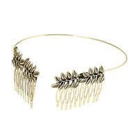 FOREVER 21 Leaf Cluster Headband Antic Gold One