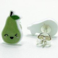 Winking Green Pear Earrings - Sterl.. on Luulla