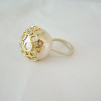 Huge Bauble Ring plated with sterling silver and gold.