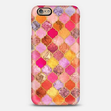 Hot Pink, Gold, Tangerine & Taupe Decorative Moroccan Tile Pattern iPhone 6 case by Micklyn Le Feuvre | Casetify