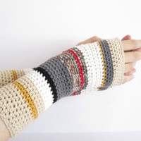 Long hand crocheted striped hand warmers